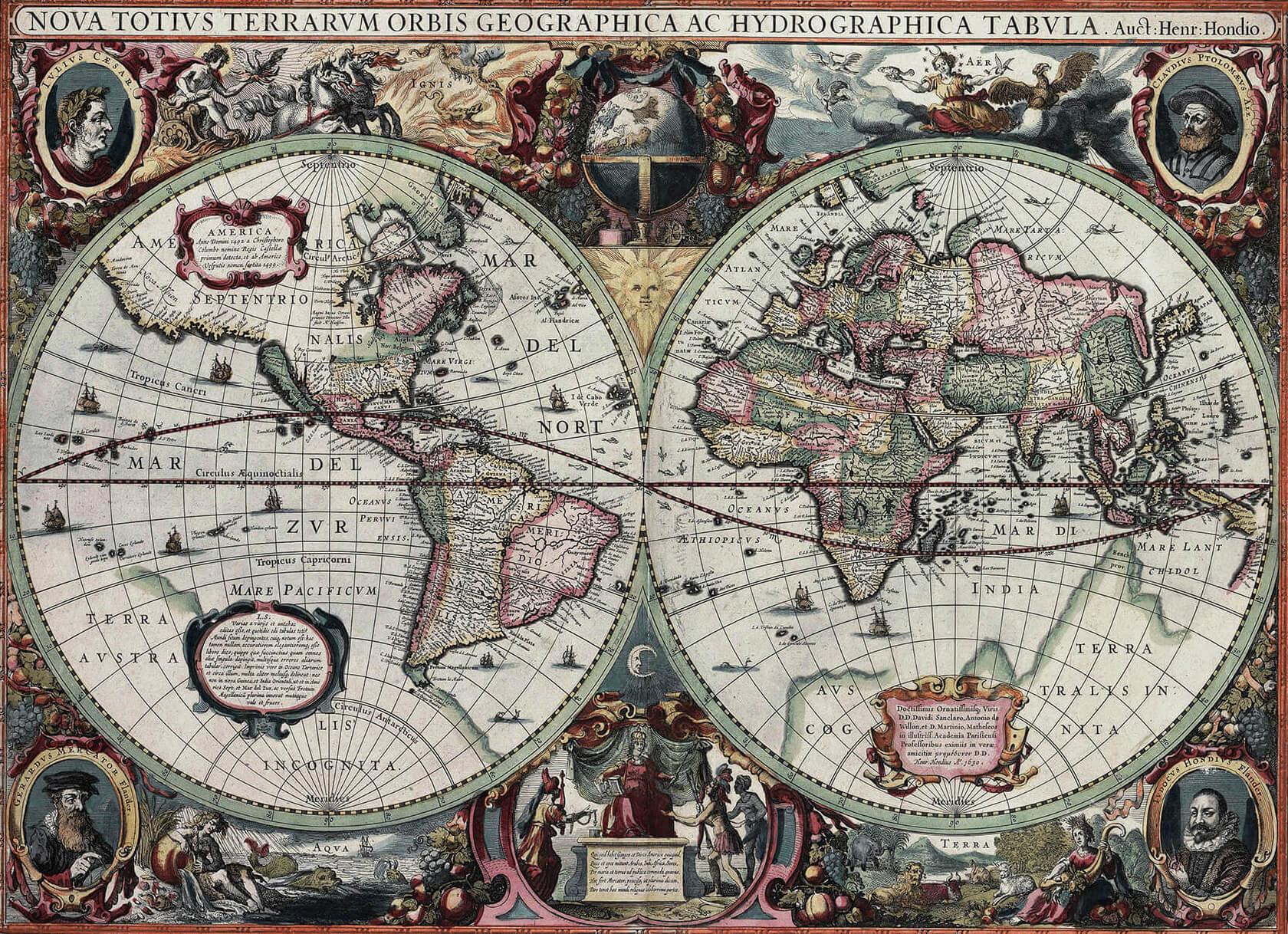 mapa Hondiusa z I poł. XVII wieku
